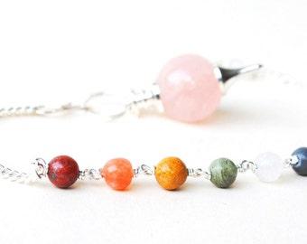 Rose Quartz Crystal Dowsing Pendulum with Gem Stones