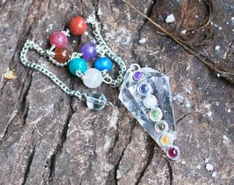 Clear Quartz Crystal Dowsing Pendulum with Gem Stones