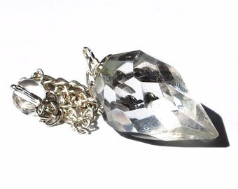 Clear Quartz Crystal Teardrop Dowsing Pendulum