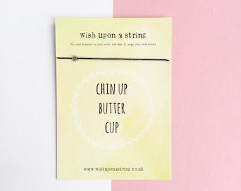 Chin Up Get Well Soon Sympathy Card Wish String Bracelet Card