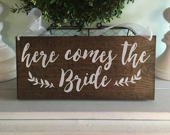 Here comes the Bride sign - Here comes the Bride - Here comes the Bride sign ring bearer - Here comes the bride sign reversible - custom
