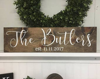 Bridal Shower Gift, Anniversary Gift, Last Name Sign, Gift For Bride, Name Sign Wedding, Last Name Established Sign, Last Name Wood Sign