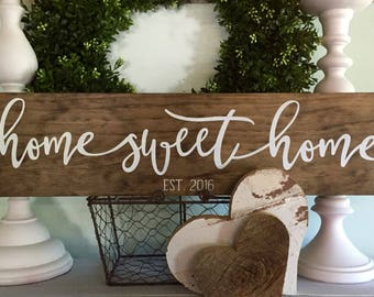 Home Sweet Home, Home Sweet Home Sign, Wood Signs, Established Wood Sign,  Wooden Signs, Home Sign, New Home Date, Farmhouse