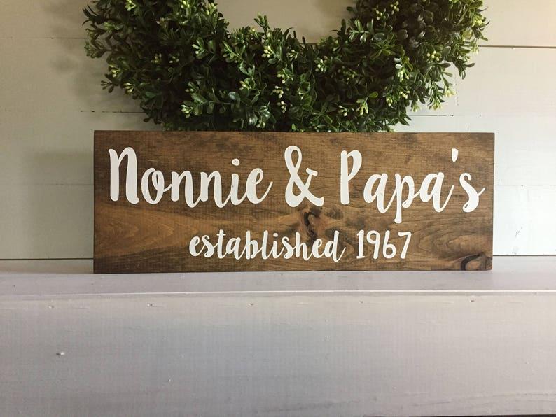 Grandma And Grandpas Grandparents Establish Date Grandparents Sign Wood Sign Wooden Sign Grandma Sign