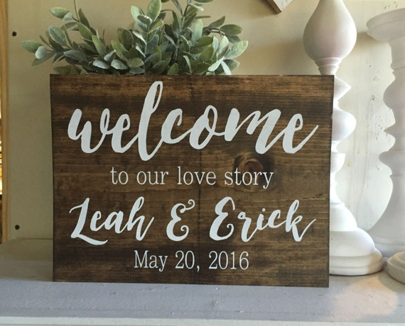 Welcome to our wedding sign Welcome to our love story sign | Etsy