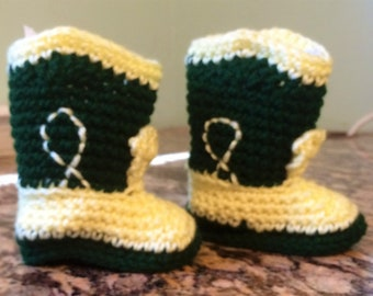 Green and yellow cowboy boot style baby booties