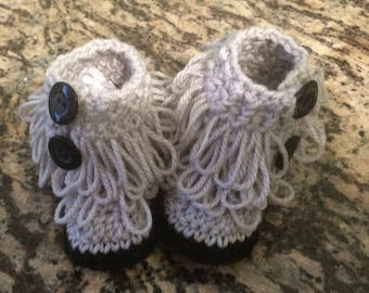 Gray and black Loopy Baby Booties