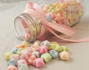 Hand folded jar or origami wishing stars