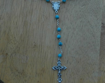 Handmade Aqua Blue Rosary with Miraculous Medal Center