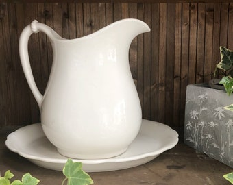 Vintage WHITE IRONSTONE PITCHER • Extra Large Hall (American) Farmhouse Milk Pitcher • Lovely Vintage Ironstone Excellent Vintage Condition!