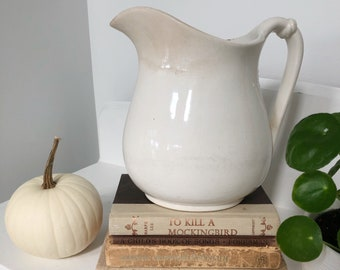 Large Vintage WHITE IRONSTONE PITCHER • K, T, K American • Lots of Age, Patina, Character • Farmhouse or Cottage Pitcher !