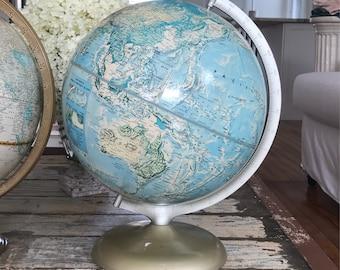 Beautiful VINTAGE WORLD GLOBE • Rand McNally Globe • Turquoise & Creme Hues • Metal Stand !