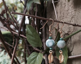 round teal leaf earrings
