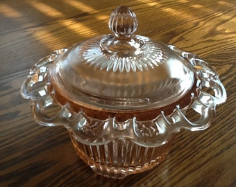 Old Colony Lace Edge Footed Pink Candy Dish with Lid