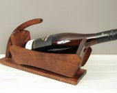 Vintage Solid Wood Baribocraft Wine Holder Bottle Stand Caddy