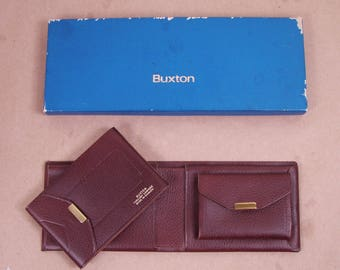 Buxton card holder etsy vintage buxton brown tuscany cowhide wallet w card holder original box made in canada leather billfold money clip id colourmoves