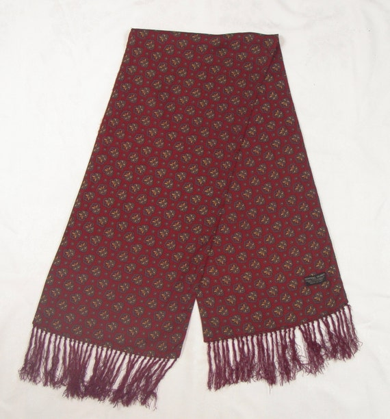 60b55435204 Vintage 1960s Tootal Scarf Burgundy Paisley Print with Tassles - FREE  SHIPPING
