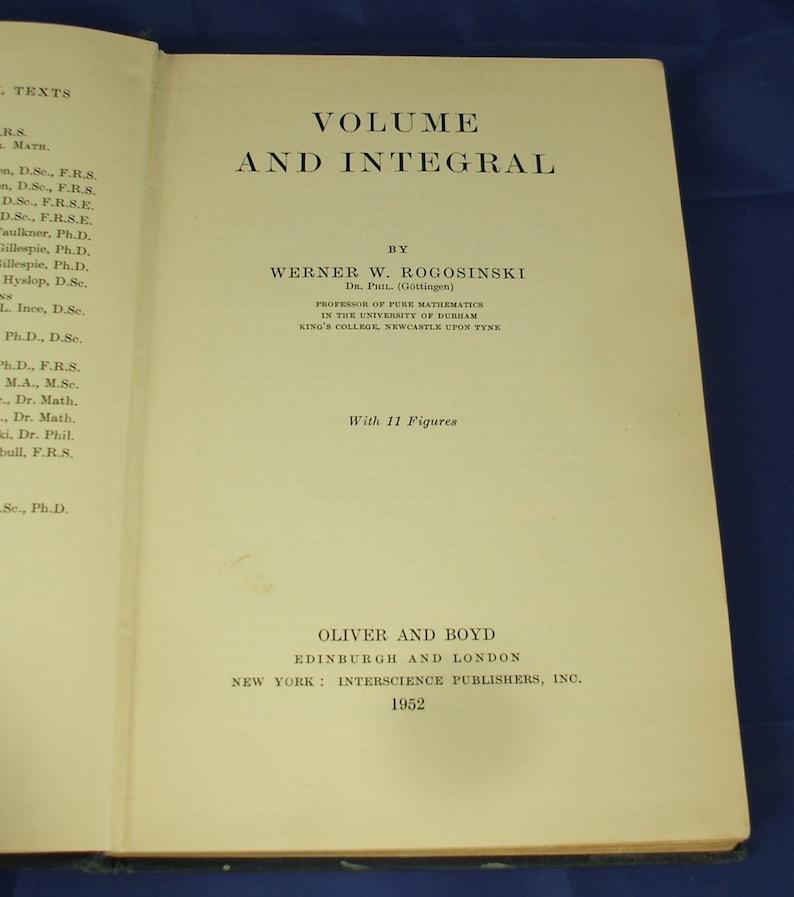 Vintage 1950s Math Book - University Mathematical Texts - Volume & Integral
