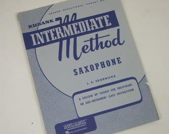 Vintage Music Book - Rubank Intermediate Method Saxophone by J.E. Skornicka - FREE SHIPPING