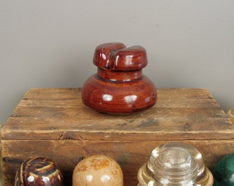 Vintage Brown Threaded Porcelain Electrical Insulator