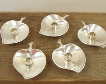 Set of 5 Mid Century Prima HG Leaf Shaped Silver Candle Holders - Made in Denmark - FREE SHIPPING