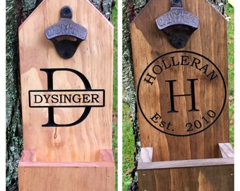 Personalized Bottle Opener, Beer, Groomsmen Gift,  Rustic Engraved Beer Bottle Opener, Cap Catcher, Wedding, Father of the Bride, Man Cave