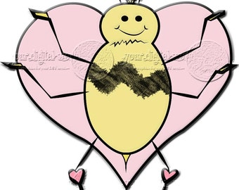 Bumble Bee Digistamp Digital Stamp Graphic Heart Wings Printable Downloadable