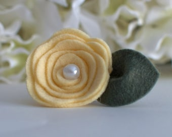 Yellow Felt Mini Rose-Can only be purchased with picture frame from Kissel ave.