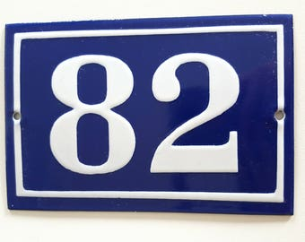 Old Antique Vintage French Enamel Metal Oval Door House Number 82 Sign Plaque Signs & Plaques