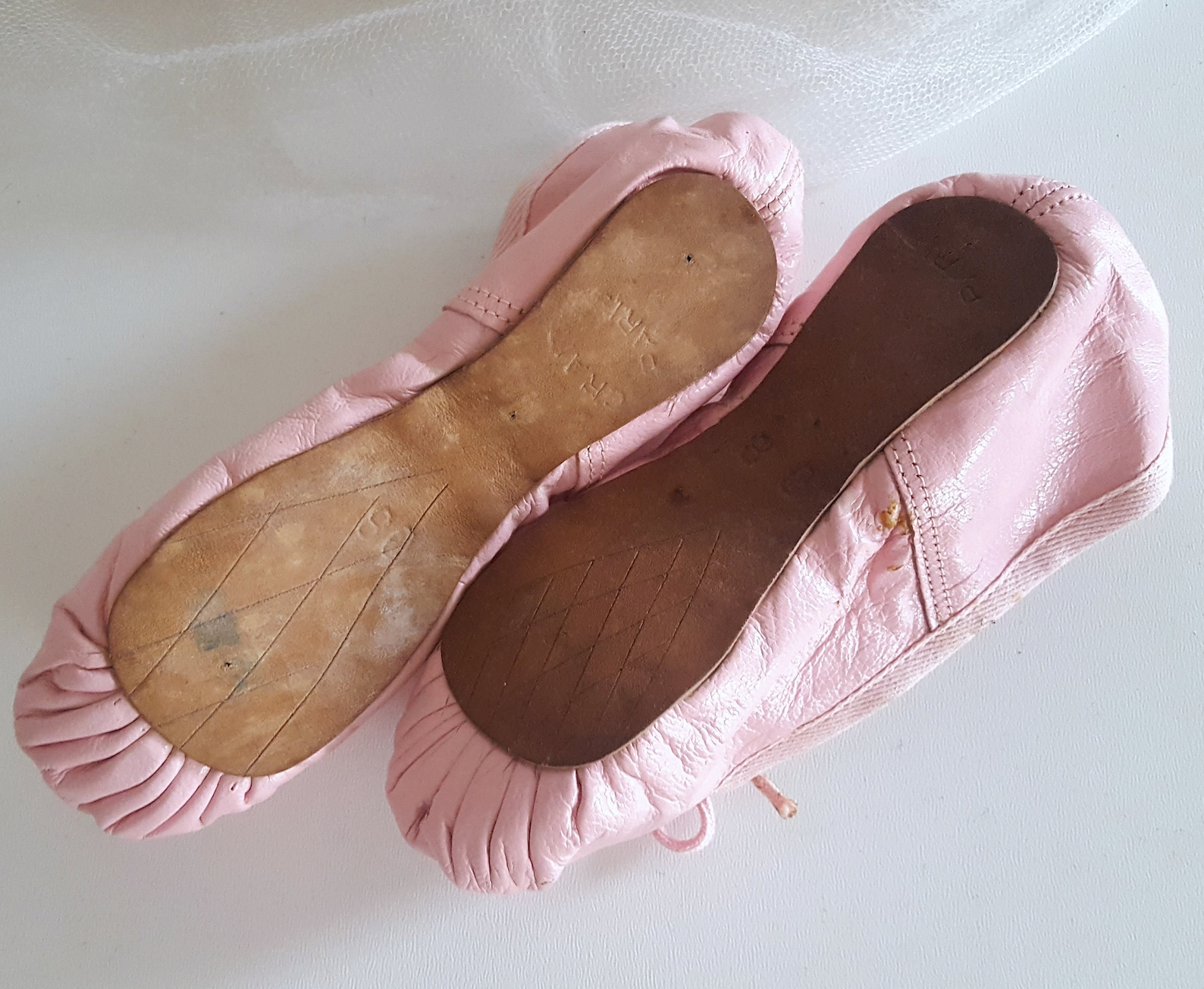 pink leather ballet shoes vintage faded pink pair of french little girl dancing slippers