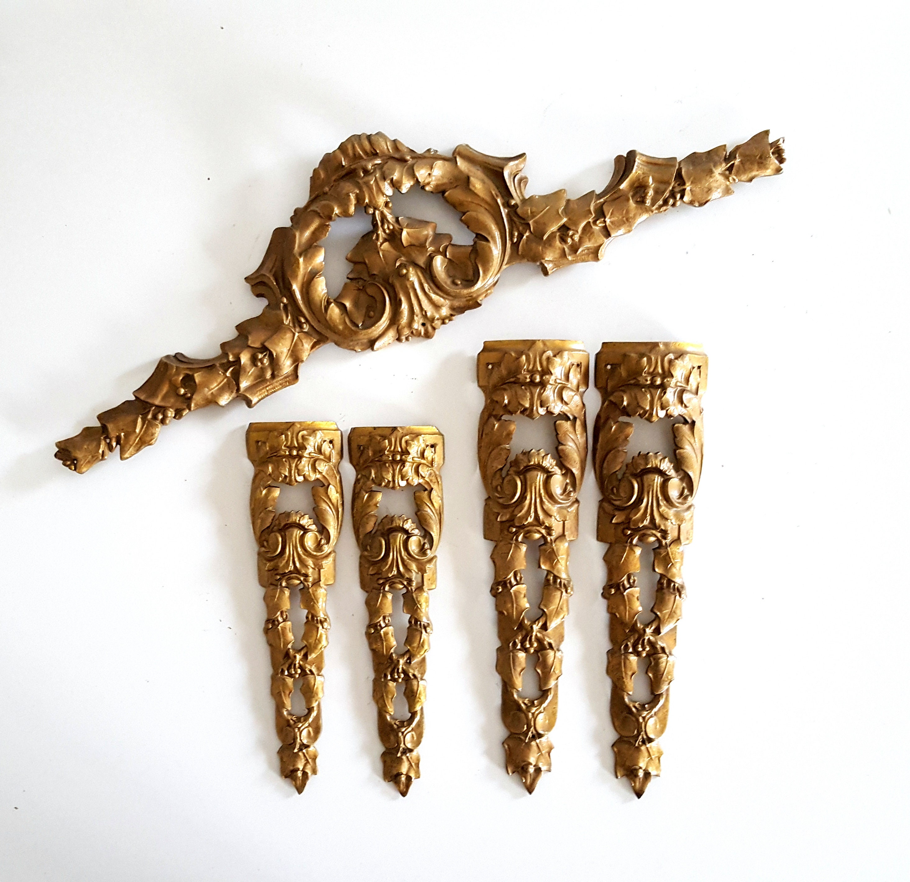 Antique French Cherub Crown Furniture Mount Embellishment Pediment Ornament