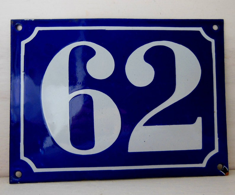 9769965a7f17 62 Large Vintage house door number sign plaque French white | Etsy