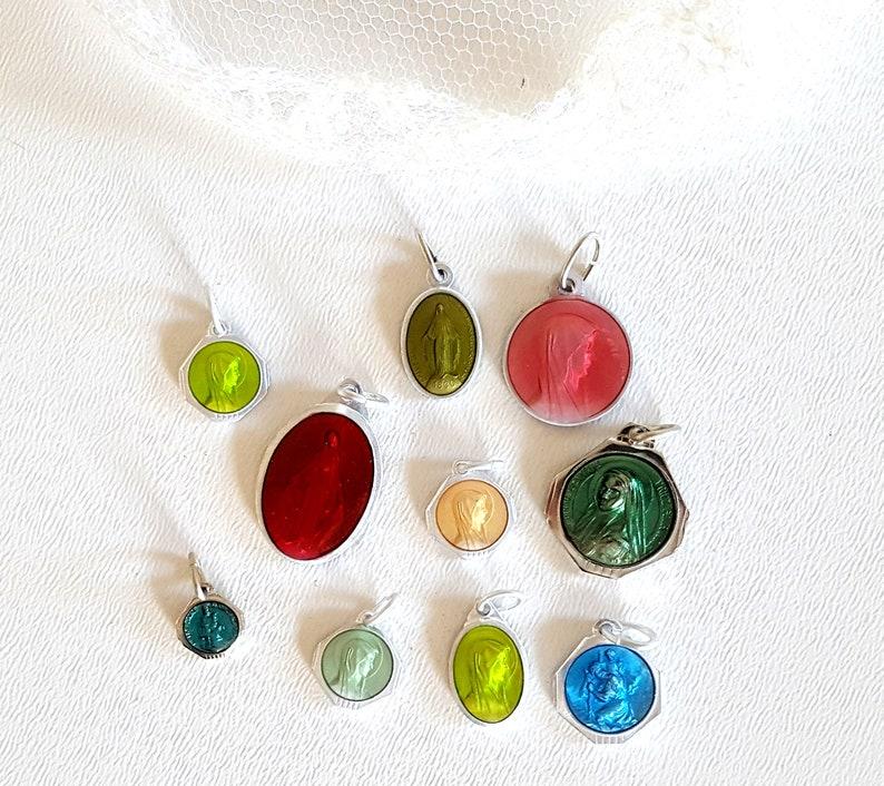 9ffa1d906cb Enamel religious medal x 10 French colorful Catholic charm | Etsy
