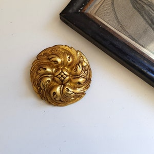Antique picture hook cover pair Small rosette French brass salvaged hardware for wall hanging 1.22 inches