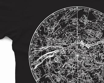 Constellation Shirt - Unisex - Astronomy Tshirt - Men's and Women's T-shirt - Graphic Tee - Astrology Art - Star Shirt - Vintage - Dark