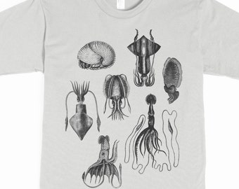 Men's Shirt - Squid T-shirt - Tentacles Tshirt - graphic tee - smattering of cephalopods