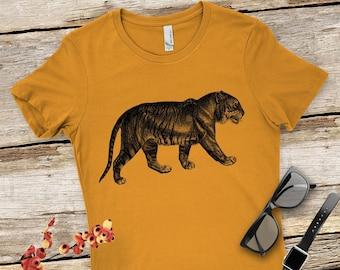 1cf7a771b Women's Tiger Graphic Tee, Women's Tiger T-Shirt, Vintage Illustration  Women's Tiger Shirt