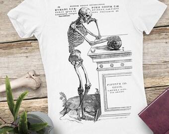 22c9febb443 Skeleton Shirt - Women's T-shirt - Skull Tshirt - graphic tee - vintage art  - weird tee
