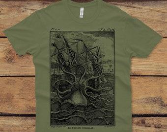Octopus Shirt - Unisex Octopus T-shirt - Kraken Tshirt - Pirate Graphic tee - Men's Graphic Tee Octopus Art