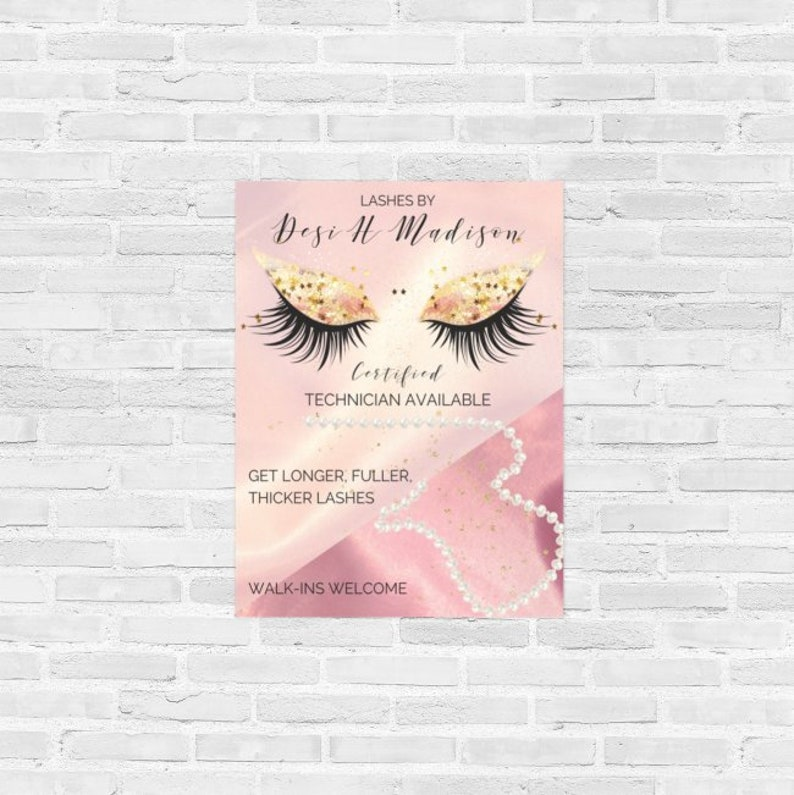 Lashes Eyelash Makeup Poster Pretty Eyes Pink-Gold Glitter image 0