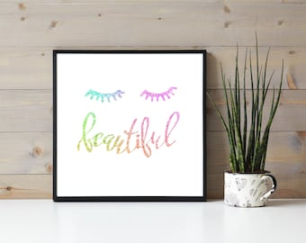Rainbow Ink Eyelash Quote, Beautiful, Eyelash Extensions, Beauty Wall Hanging, Business Branding, Lashes Beauty Quote, Girls Room, Dorm Room