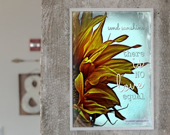 """Wall Quote Rustic Sign, """"There is no love equal."""" Faith-Inspired, Gift for Anyone, Sunflower Print, Wall Hanging, Canvas Wall Decor"""