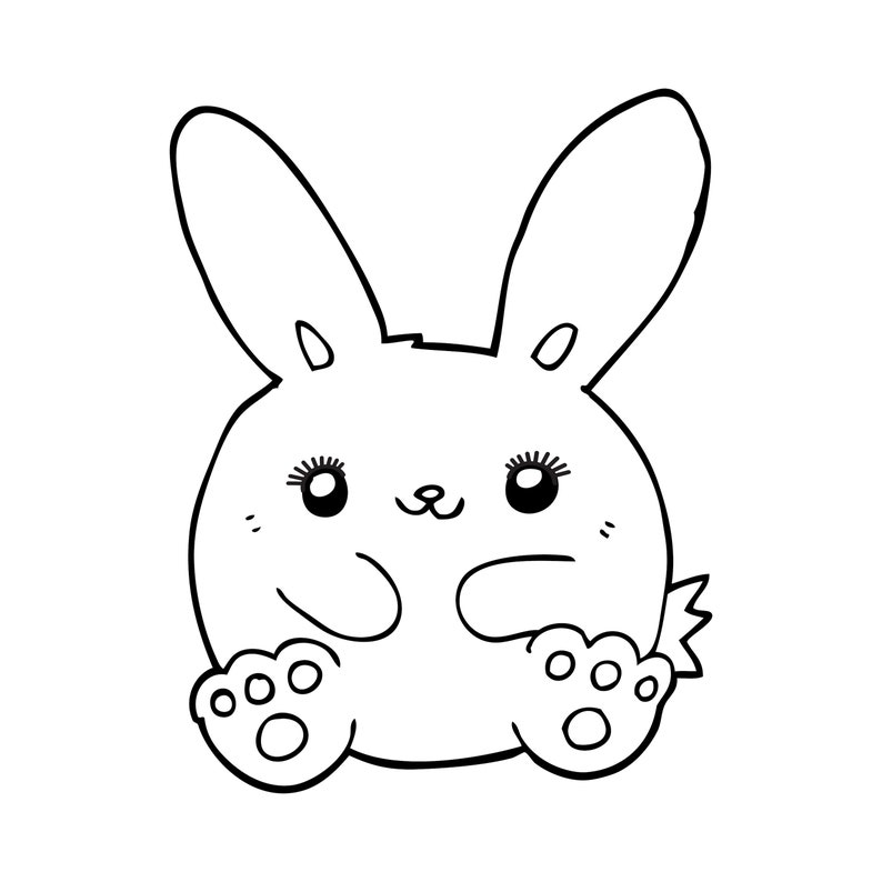 Cute Bunny with Eyelashes Cartoon Rabbit with Lashes image 0