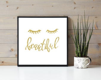 Gold Glitter Pretty Eyelash Quote, Beautiful, Eyelash Extensions, Beauty Wall Hanging, Lashes Quote, Lash Extensions Business Branding
