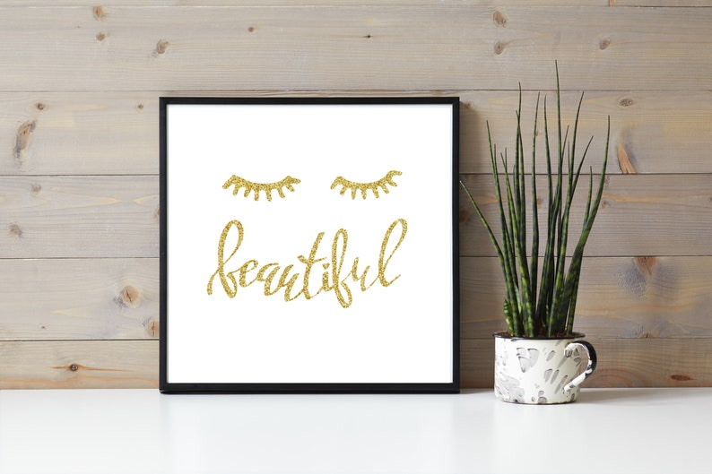 Gold Glitter Pretty Eyelash Quote Beautiful Eyelash image 0