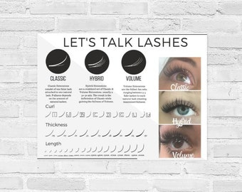 Eyelash Curl, Length, Thickness Poster for Classic, Hybrid & Volume Eyelash Extensions, Instant Download