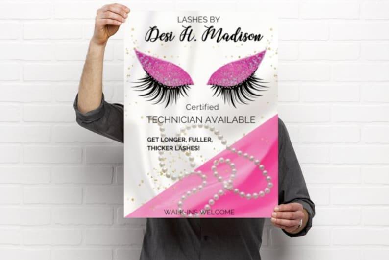 Pretty Pink Eyelash Makeup Poster Fancy Eyes Hot Pink image 0