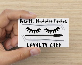 Eyelash Extension Loyalty Cards, Eyelash Business Cards, Lashes, Lash Artist, Eyelash Extension Branding, Silver Glitter, Pink Font