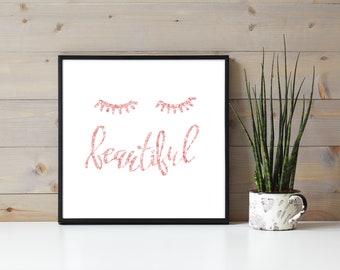 Pink Glitter Beautiful Eyelash Poster, Eyelash Extensions, Lash Wall Hanging, Pretty Lashes, Business Branding, Lash Artist Beauty Quote