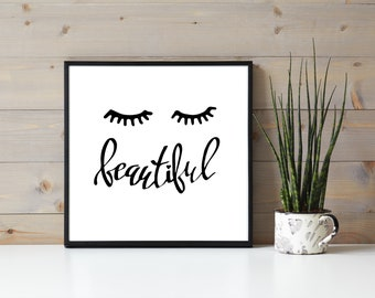 Beautiful Eyelash Poster, Pretty Lashes, Eyelash Extension, Beauty Wall Hanging, Lashes Quote, Lash Extensions Business Branding, Girls Room